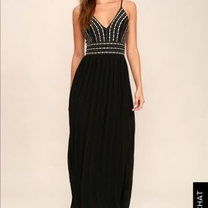 LULU'S BLACK EMBROIDERED MAXI DRESS
